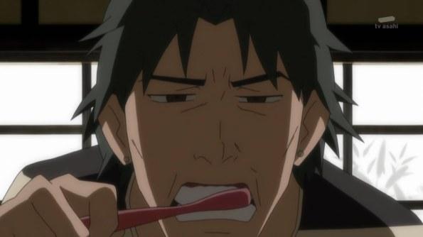 Würd ich den Anime nicht kennen, würde ich den Typen Herr Zahnputzer nennen...